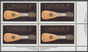 Canada - #878 Antique Mandora Plate Block -MNH