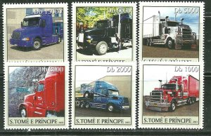 St. Thomas & Prince Islands MNH 1541a-f Tractor Trailer Trucks 2003 SCV 9.00