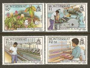 Montserrat MNH 569-72 Sea Island Cotton Industry 1985