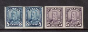 Canada #153b #154a VF/NH Imperf Pair Duo