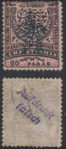 EASTERN RUMELIA Sc 22 FORGED OVPT AUFDRUCK/FALSCH ON BACK MINT (CV$325)