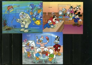 ST.VINCENT 1996 DISNEY CHARACTERS OCCUPATIONS SET OF 3 S/S MNH
