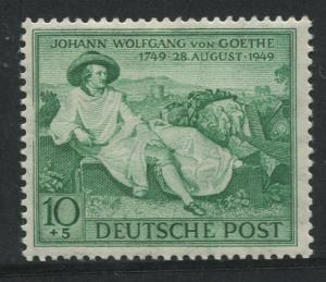 Germany - Scott B306 - Goethe -1949 - MVLH - Single 10pf +5pf Stamps
