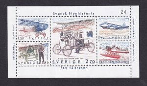 Sweden  #1516  MNH  1984  sheet Swedish aviation history