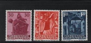 LIECHTENSTEIN 372-374 (3) Set, MNH, 1962 Pieta, Angel and view of Mauren
