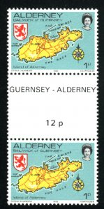 Alderney #1   Gutter Pair   Mint NH VF 1983PD