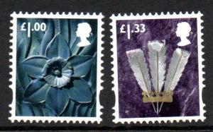 Great Britain Wales  44-5 2015  Daffodil & Feathers stamp set mint NH