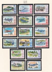 Norfolk Island # 256-270, Aircraft, NH, 1/2 Cat.