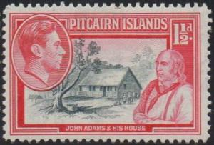 Pitcairn Islands 1940 1½d John Adams and house MH