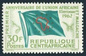 Central Africa 21,MNH.Michel 30. African-Malagasy Union,1962.Flag.