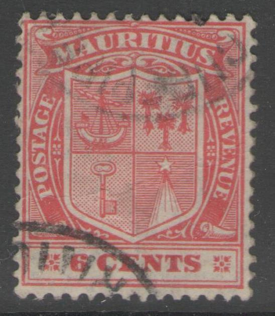 MAURITIUS SG212 1922 6c CARMINE FINE USED