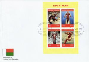Madagascar 2019 FDC Iron Man 4v M/S Cover Marvel Comics Superheroes Stamps