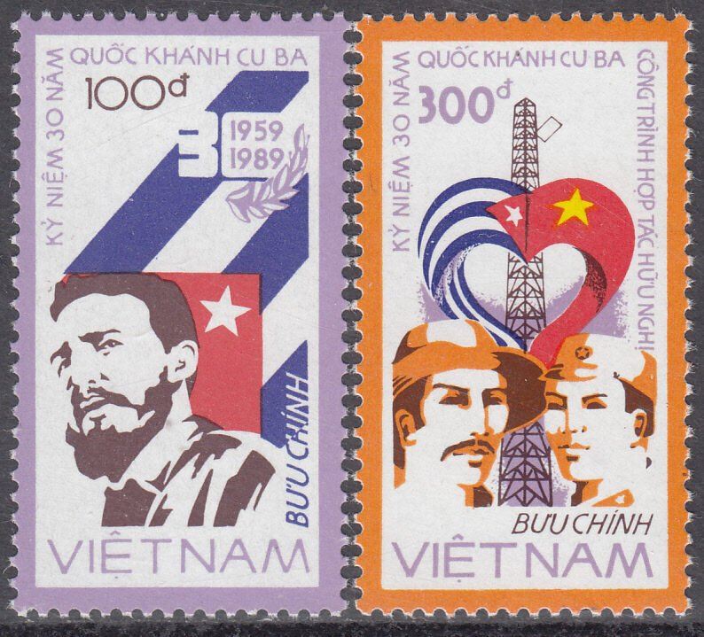 N.Vietnam MNH Sc 1883-84 Mi 1948-49  Value $ 2.25 US $ Fidel Castro