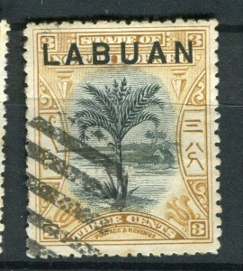 NORTH BORNEO LABUAN; 1890s classic Pictorial issue fine used 3c. value
