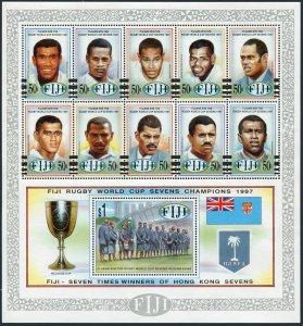 Fiji 805 ak sheet,MNH.Michel 816-826 Bl.23. Rugby World Sevens Champions,1987.