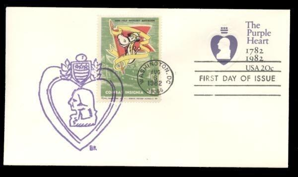 74th Field Artillery Batalion Poster Stamp on Purple Heart #U603 FDC