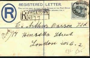 SIERRA LEONE KGV Cover Freetown GPO Registered GB London 1931 {samwells} PB349