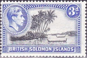 BRITISH SOLOMON ISLANDS 1939 KGVI 3d Black & Ultramarine SG65 MH
