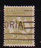 Australia Sc47 1915 3 d olive bistre kangaroo stamp used