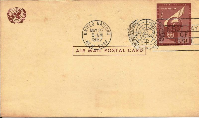 United Nations NY 1957 Air Mail Post Card Scott# UXC1