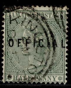 JAMAICA QV SG O1, ½d green, FINE USED.