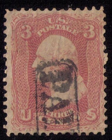 US Sc 64b Fancy Paid Cancellation Used Very Fine Cat. $150.00