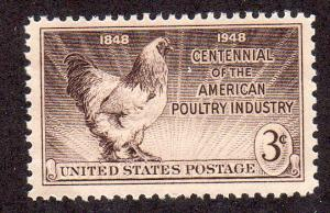 United States 968 - Mint-NH - 3c Poultry Industry / Rooster (1948)