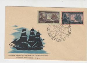Poland 1957 Ann. Birth of J.C.Korzeniowski Compass Cancel FDC Stamp Cover  23034