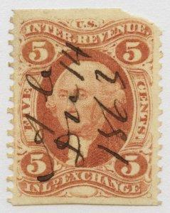 B22 U.S. Revenue Scott R27b 5-cent Inland Exchange part perf, 1863 cancel