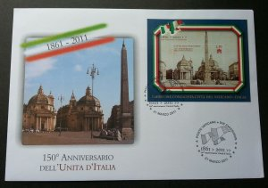 Vatican - Italy Joint Issue 150th Anniversary Of Italy Unity 2011 (ms FDC)
