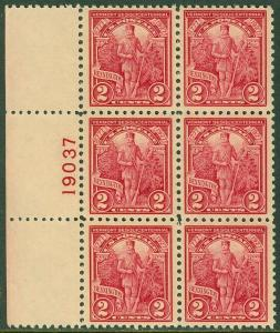 EDW1949SELL : USA 1927 Scott #643 P/B of 6. Extra Fine Mint Never Hinged Cat $45