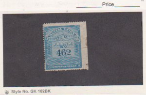 Scott # 9T1 1882 Blue Mutual Union Telegraph Co. Stamp Unused F-VF MNG Cat $50.