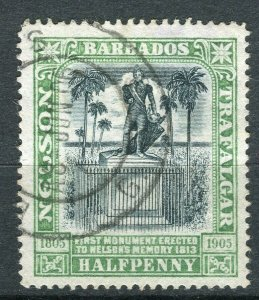 BARBADOS; 1906 early Nelson Centenary issue fine used 1/2d. value