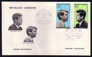 Gabon, Scott cat. C79-C80. Kennedy Brothers values. First day cover. ^