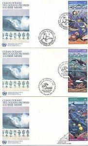 U.N 1995 CLEAN OCEANS SET OF 3 FDC' FDC's