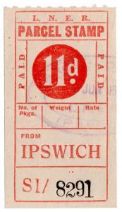(I.B) London & North Eastern Railway : Parcel Stamp 11d (Ipswich)
