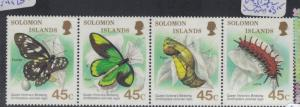 Solomon Islands Butterfly SC 608a Strip of Four MNH (8dpr)