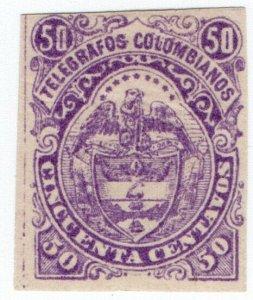 (I.B) Colombia Telegraphs : 50c Purple (1882)
