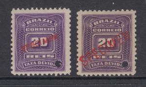 Brazil Sc J29 var MNH. 1906 20r Postage Dues, 2 diff SPECIMEN ovpts, VF