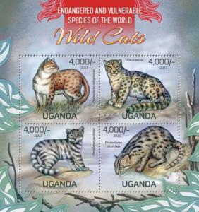 Uganda - Wild Cats - 4 Stamp Sheet - 21D-075