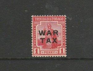 Trinidad & Tobago 1917 WAR TAX, 1d Type 23 SG 184 MM, see notes