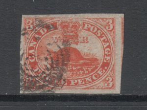Canada Sc 4d used 1852 3c orange red Beaver on Thin Wove Paper, VF+
