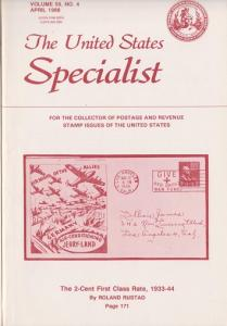 The United States Specialist:  Volume 59, No. 4 - April 1988
