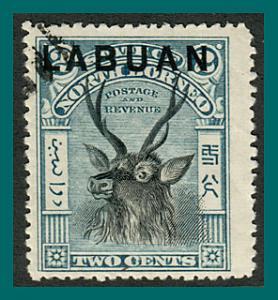 Labuan 1897 Sambar Stag, p14, cancelled  #73,SG90