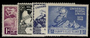 GILBERT AND ELLICE ISLANDS GVI SG59-62, anniversary of UPU set, LH MINT.