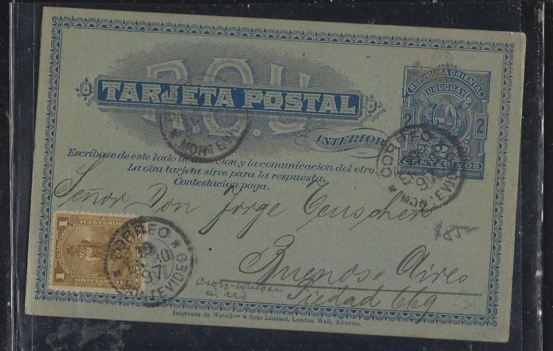 URUGUAY   (PP2604B)  1897 REPLY PSC 2C+1C  TO BUENOS AYRES, 1/2 USED