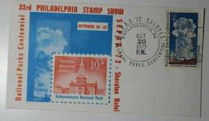SEPAD Natl Parks Centennial Phildelphia PA 1972 Sheraton Hotel Philatelic Cover