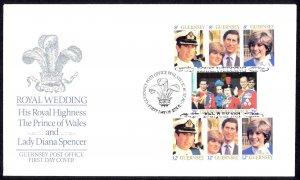 Guernsey Sc# 224a-226a FDC 1981 7.29 Royal Wedding