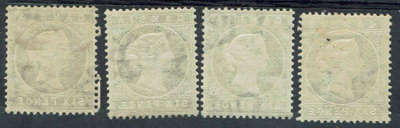 GAMBIA 1886 QV CAMEO 6D - 4 DIFFERENT SHADES
