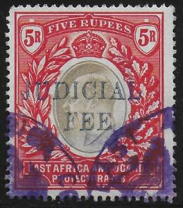 British East Africa | BEA | KUT 1905 KEVII Judicial Fee Revenue 5R Fine Used